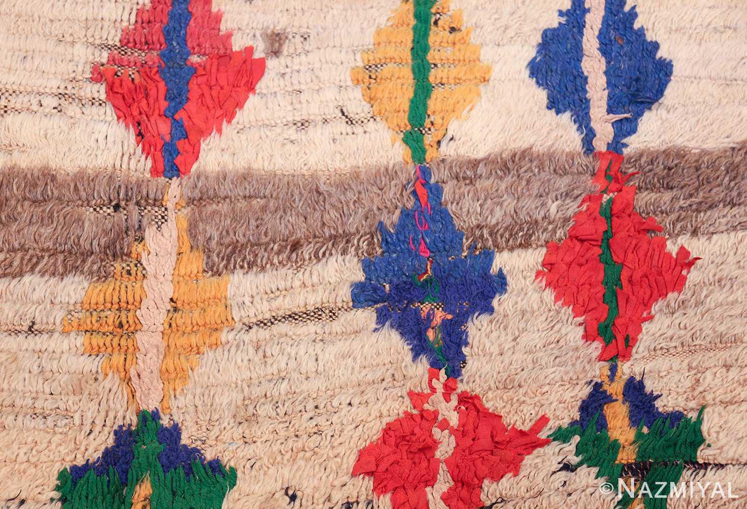 mid century vintage folk art moroccan rug 45013 white Nazmiyal