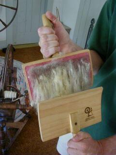 Carding in rug weaving by Nazmiyal