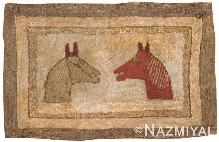 Antique Hooked American Rug 2559 Nazmiyal