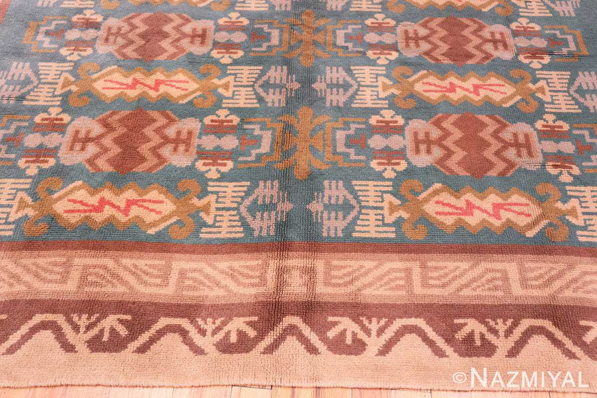 Border Vintage room size mid Century Scandinavian Swedish pile rug 44610 by Nazmiyal