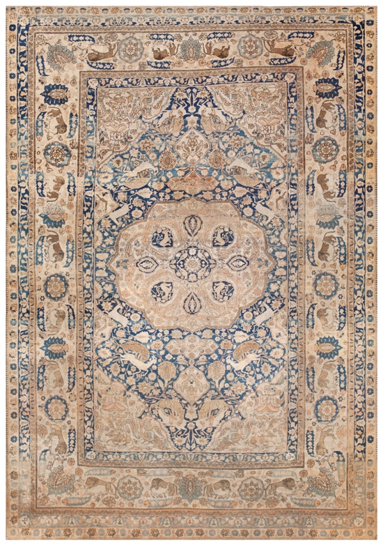 Antique Kashan Mohtashem Rug