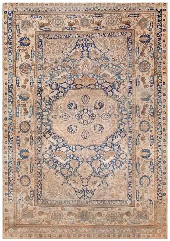 Antique Kashan Mohtashem Rug