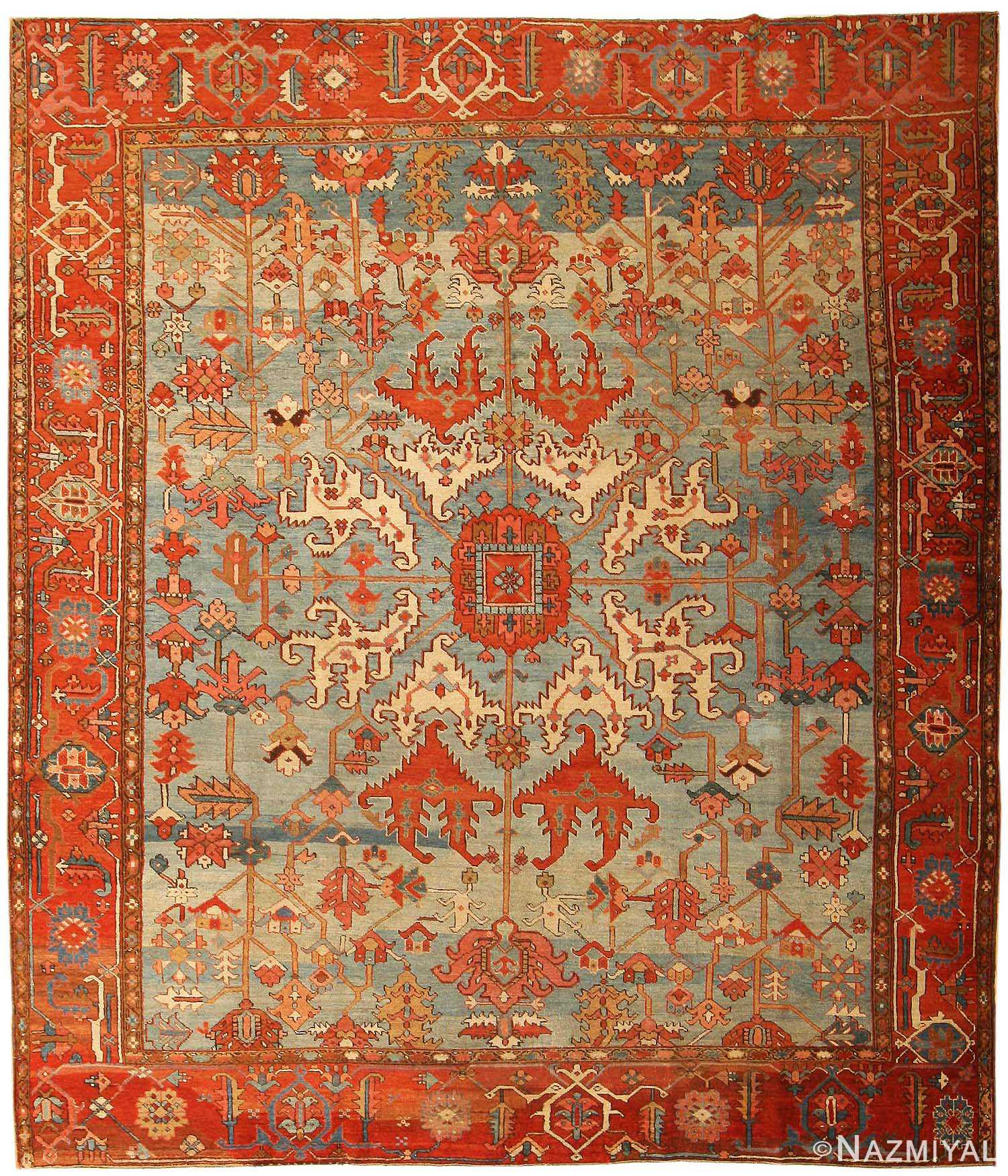 Light Blue Antique Tribal Serapi Persian Rug 43719 Nazmiyal
