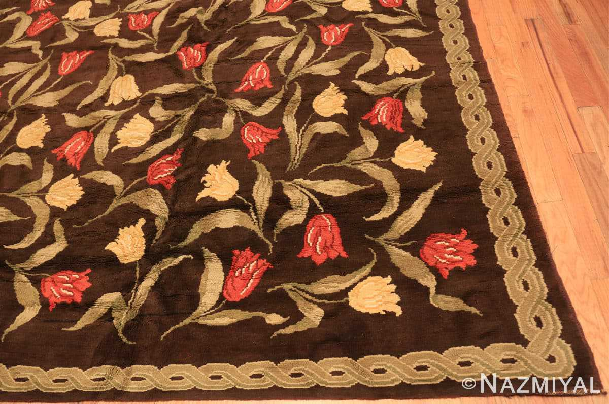 Corner Antique Savonnerie French rug 44949 by Nazmiyal Antique Rugs in NYC