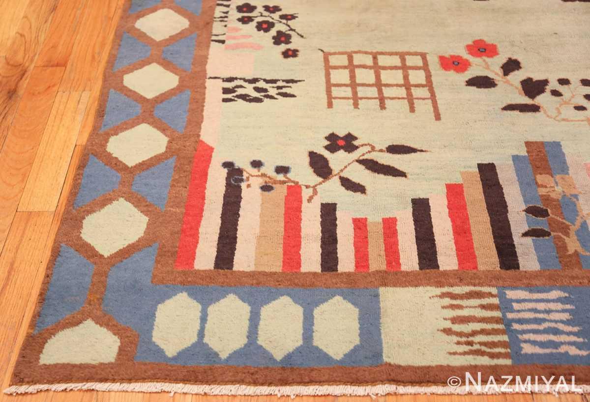 Corner Vintage Art Deco Indian rug 44915 by Nazmiyal