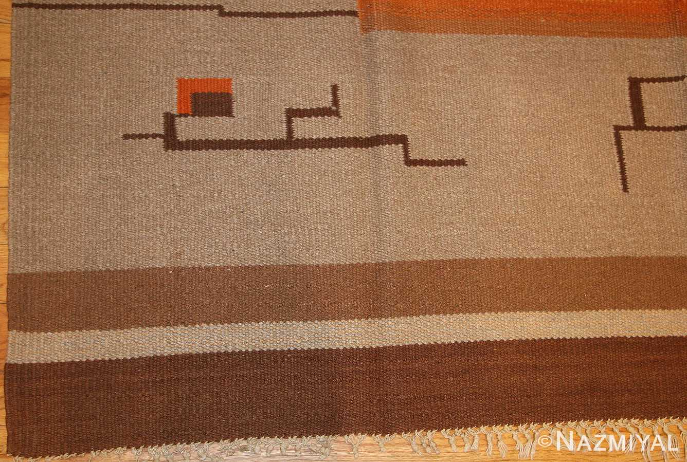 flat woven room size vintage swedish Kilim rug 3372 border cu Nazmiyal