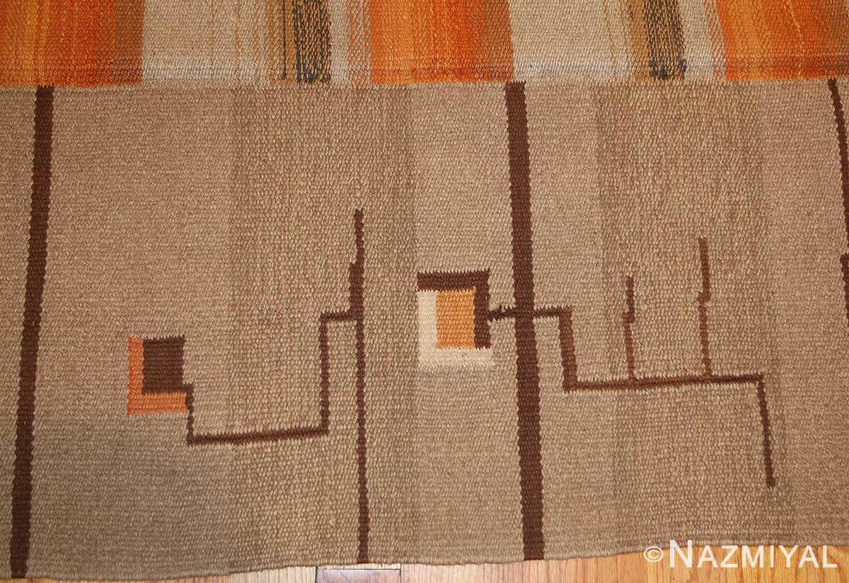flat woven room size vintage swedish Kilim rug 3372 border Nazmiyal