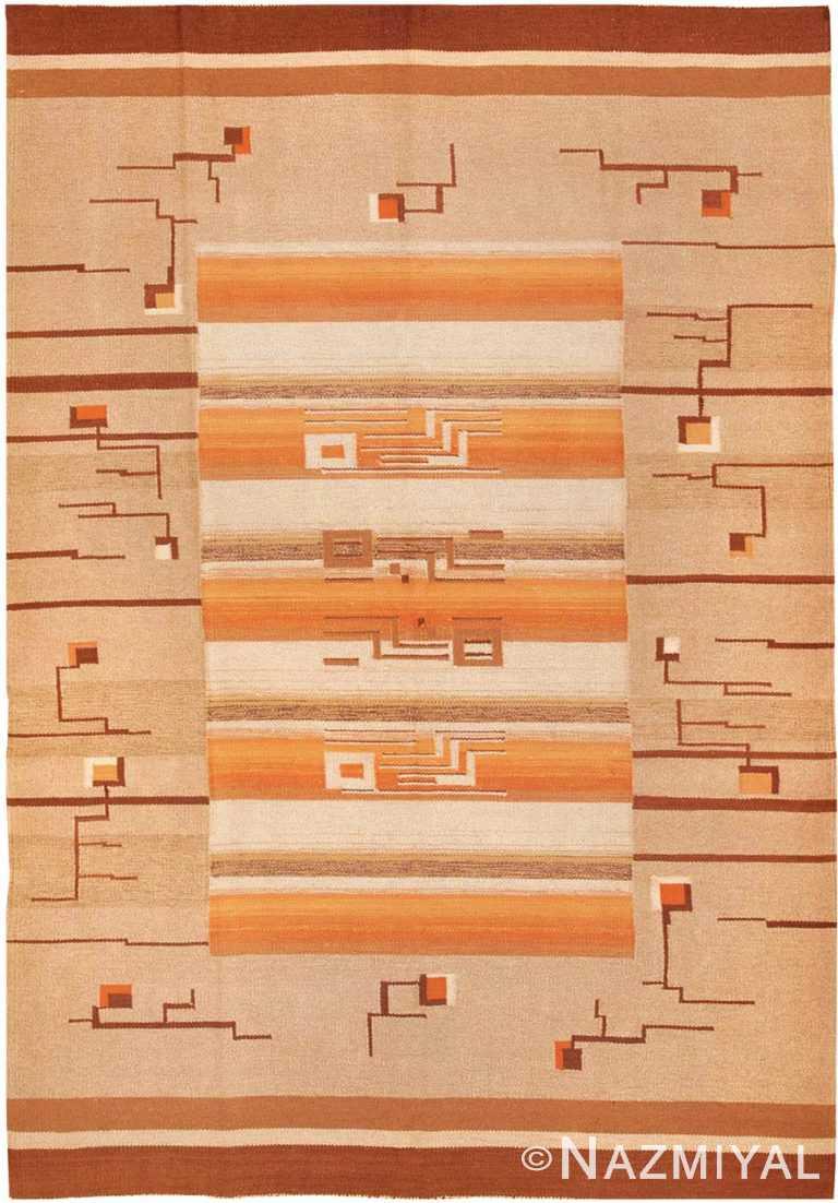 Flat Woven Room Size Vintage Swedish Kilim Rug #3372 by Nazmiyal Antique Rugs