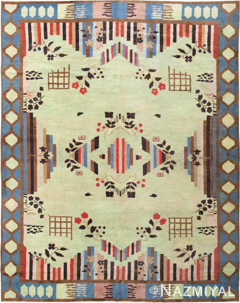Green Vintage Art Deco Indian Rug #44915 by Nazmiyal Antique Rugs