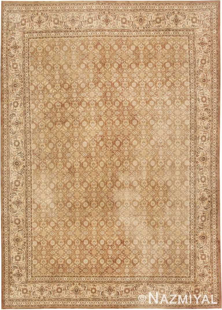 Brown Antique Persian Shabby Chic Tabriz Rug #44600 by Nazmiyal Antique Rugs