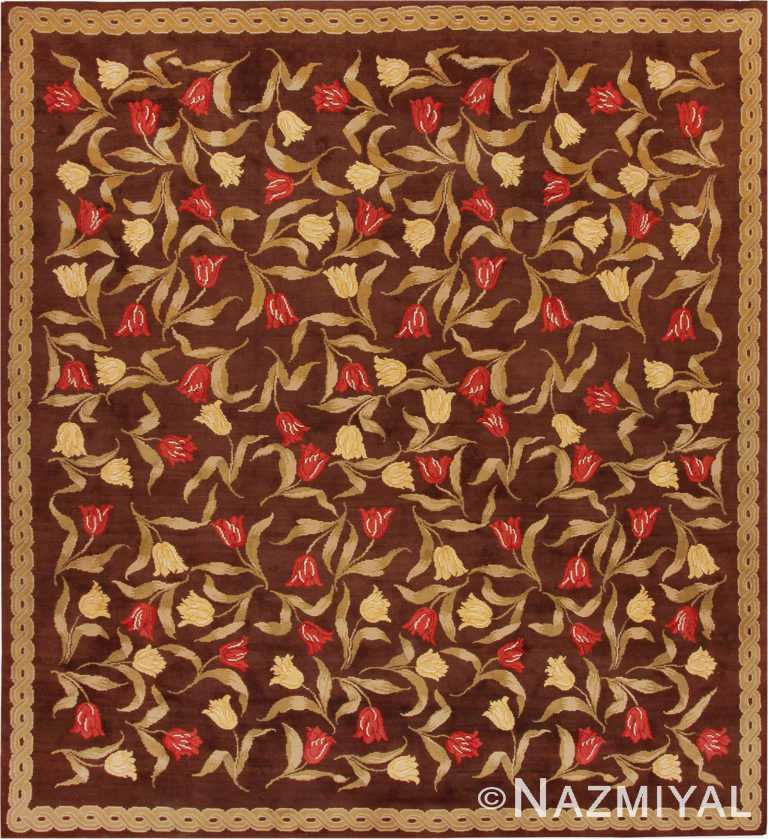 Square Antique Savonnerie French Rug #44949 by Nazmiyal Antique Rugs