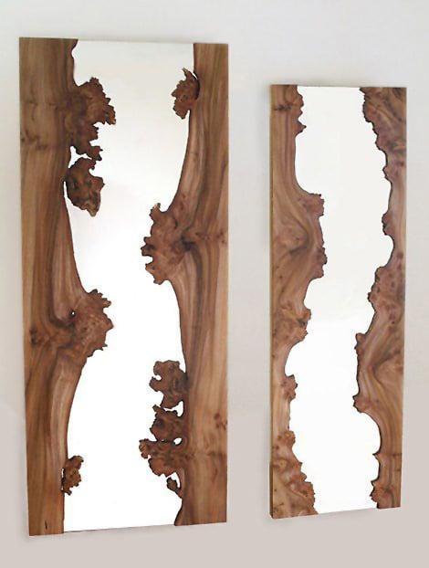 Modern Wooden River Design Mirror Nazmiyal