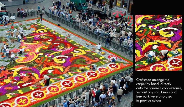 People Arranging The Brussels Biennial Flower Carpet by Hand - Nazmiyal