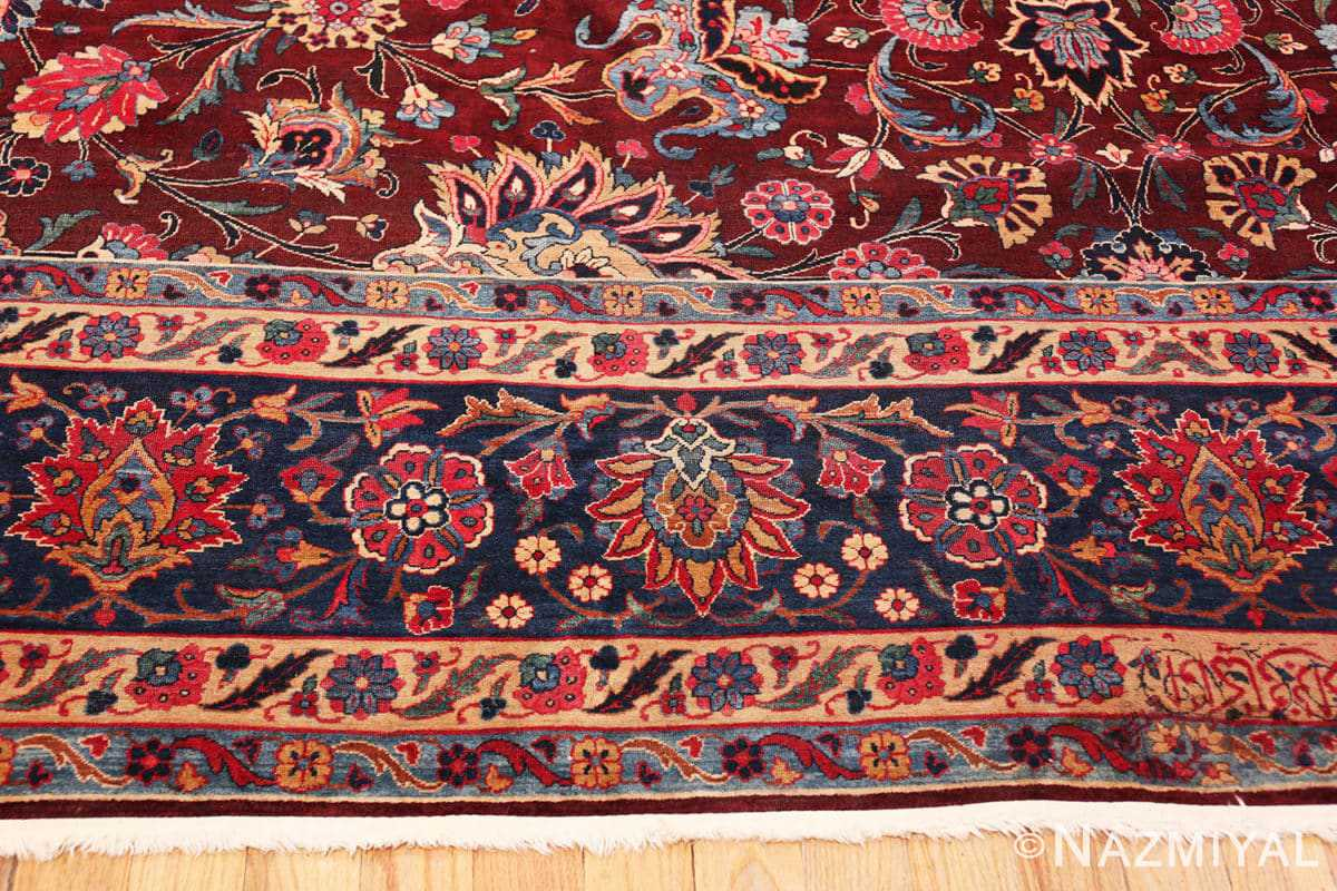 Border Aubergine Antique Persian Kerman rug 44830 by Nazmiyal