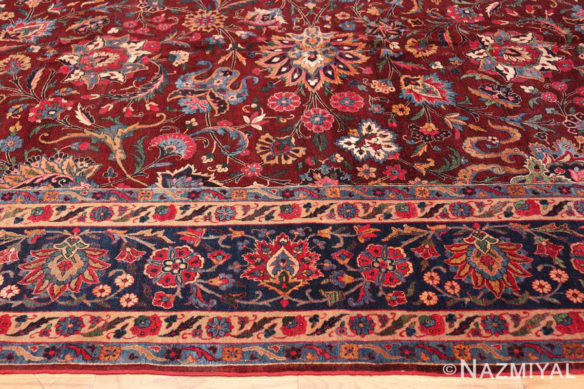 Border view Aubergine Antique Persian Kerman rug 44830 by Nazmiyal