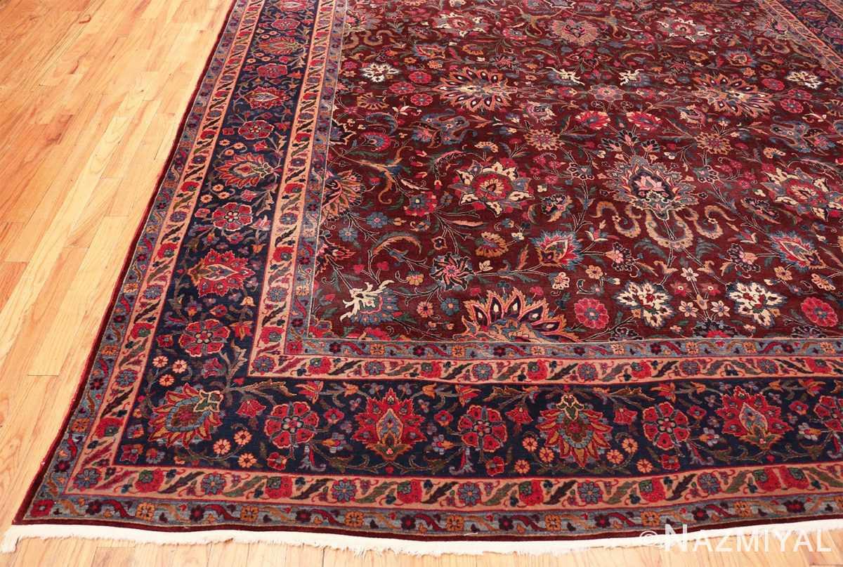 Corner Aubergine Antique Persian Kerman rug 44830 by Nazmiyal