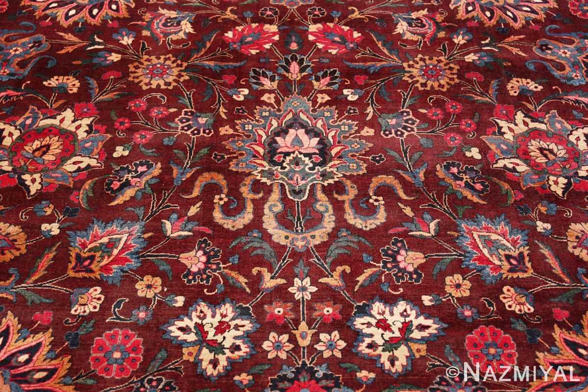 Detail Aubergine Antique Persian Kerman rug 44830 by Nazmiyal