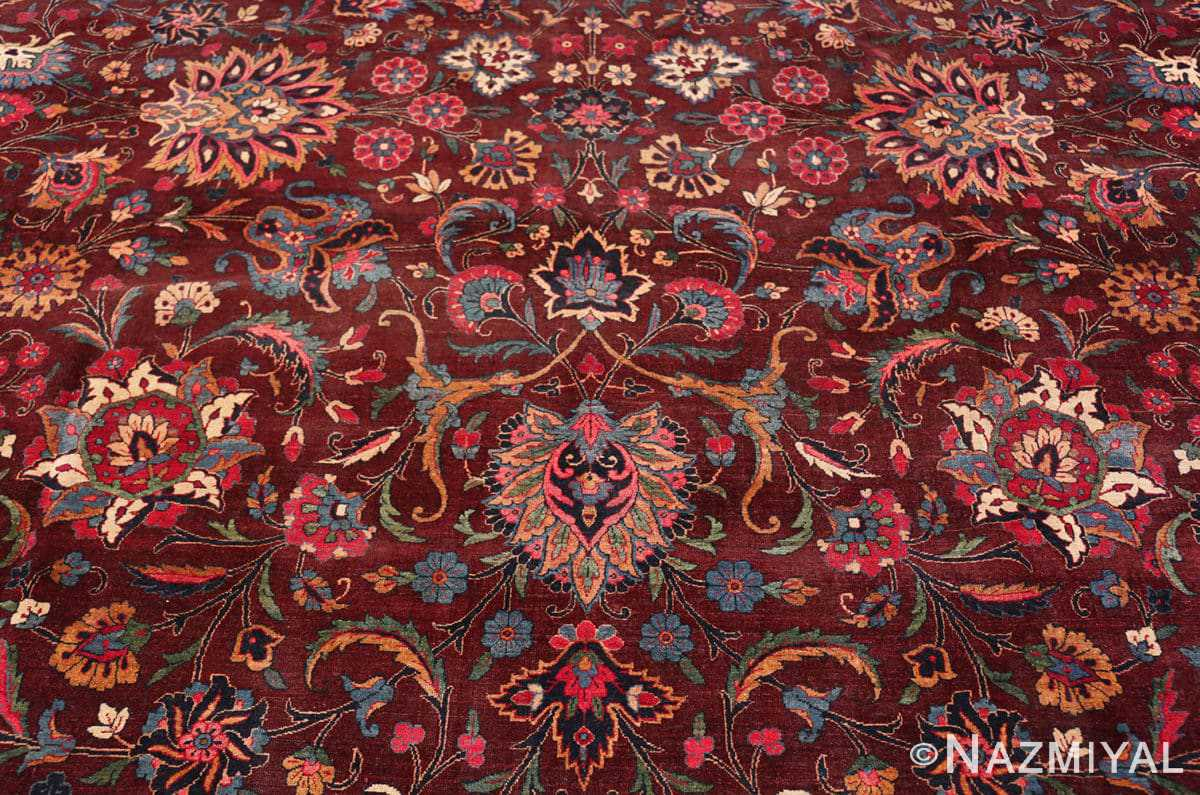 Florwer Aubergine Antique Persian Kerman rug 44830 by Nazmiyal