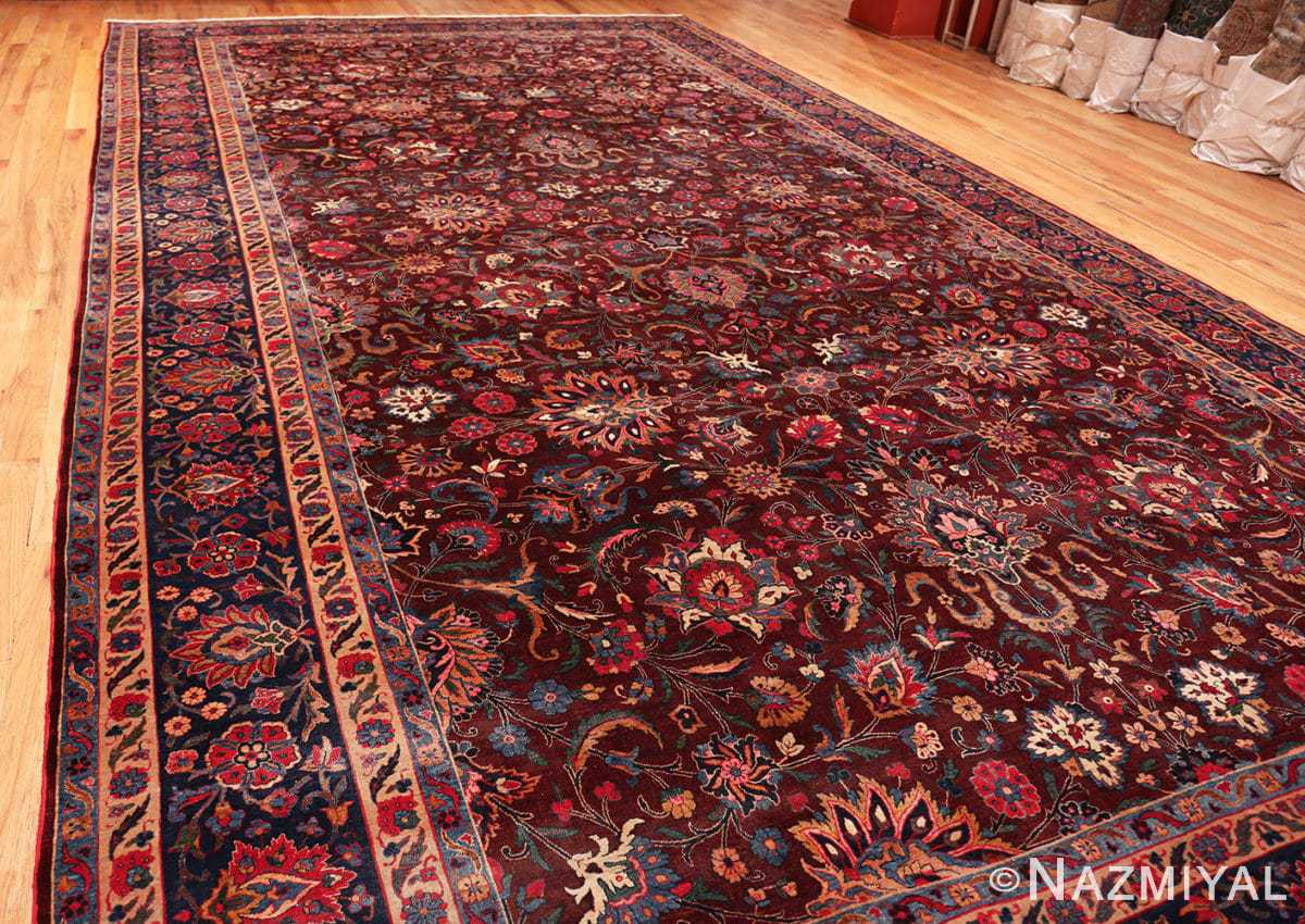 Full Aubergine Antique Persian Kerman rug 44830 by Nazmiyal