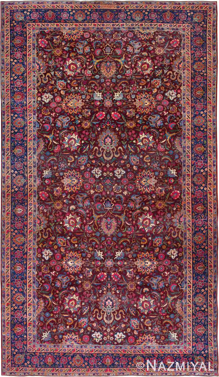 Oversized Antique Aubergine Persian Kerman Area Rug #44830 by Nazmiyal Antique Rugs