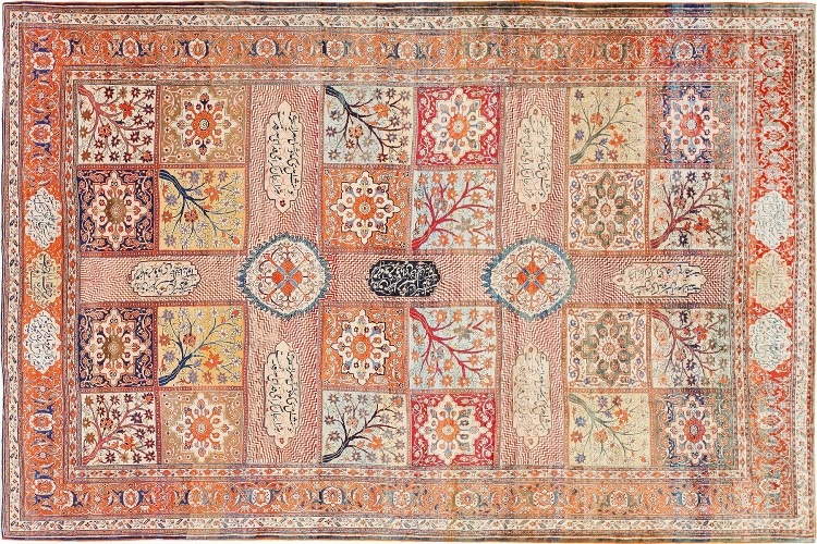 Antique Silk Persian Heriz rug by Nazmiyal