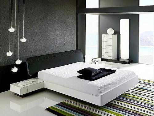 Black and White Contemporary Bedroom Interior Design - Nazmiyal