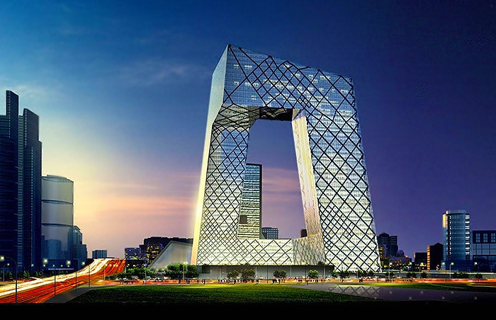 Beijing CCTV Building In China At Dusk Nazmiyal