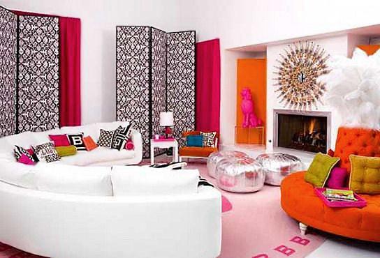 Colorful Home Interior Design by Johnathan Adler Of Malibu Barbie House - Nazmiyal