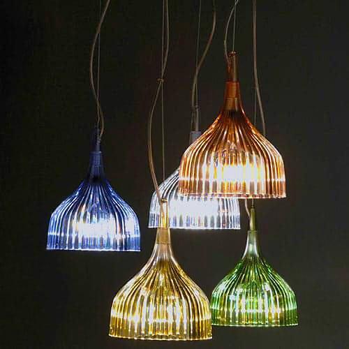Multi Colored Glass Pleated Pendant Lamps - Nazmiyal