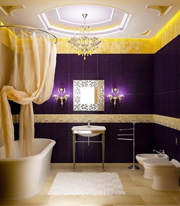 Purple Luxury Bathroom Interior Design - Nazmiyal