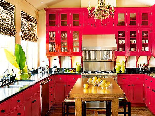 Red Kitchen Interior Design - Nazmiyal