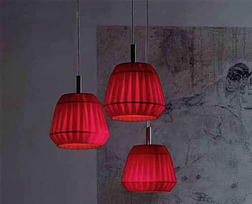 Red Pleated Pendant Lamps Fixtures - Nazmiyal