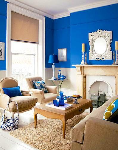 Royal Blue Living Room Interior Design by Nazmiyal