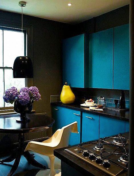 Tiffany Blue Kitchen Interior Design by Nazmiyal