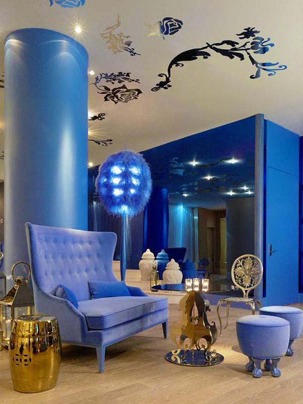 Tiffany Blue Interiors - Living Room Decor by Nazmiyal