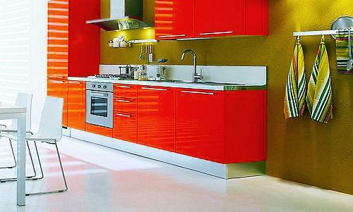 Vibrant Orange and Green Kitchen Interior Design - Nazmiyal