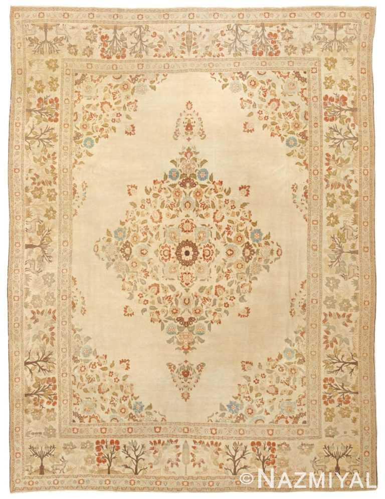 Fine Room Size Antique Ivory Persian Tabriz Rug #45088 by Nazmiyal Antique Rugs