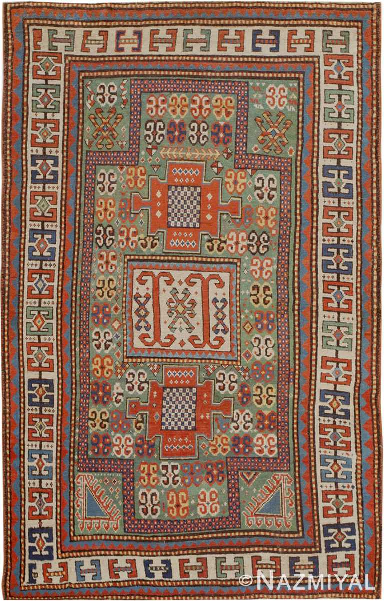 Antique Kazak Caucasian Prayer Rug #45191 by Nazmiyal Antique Rugs