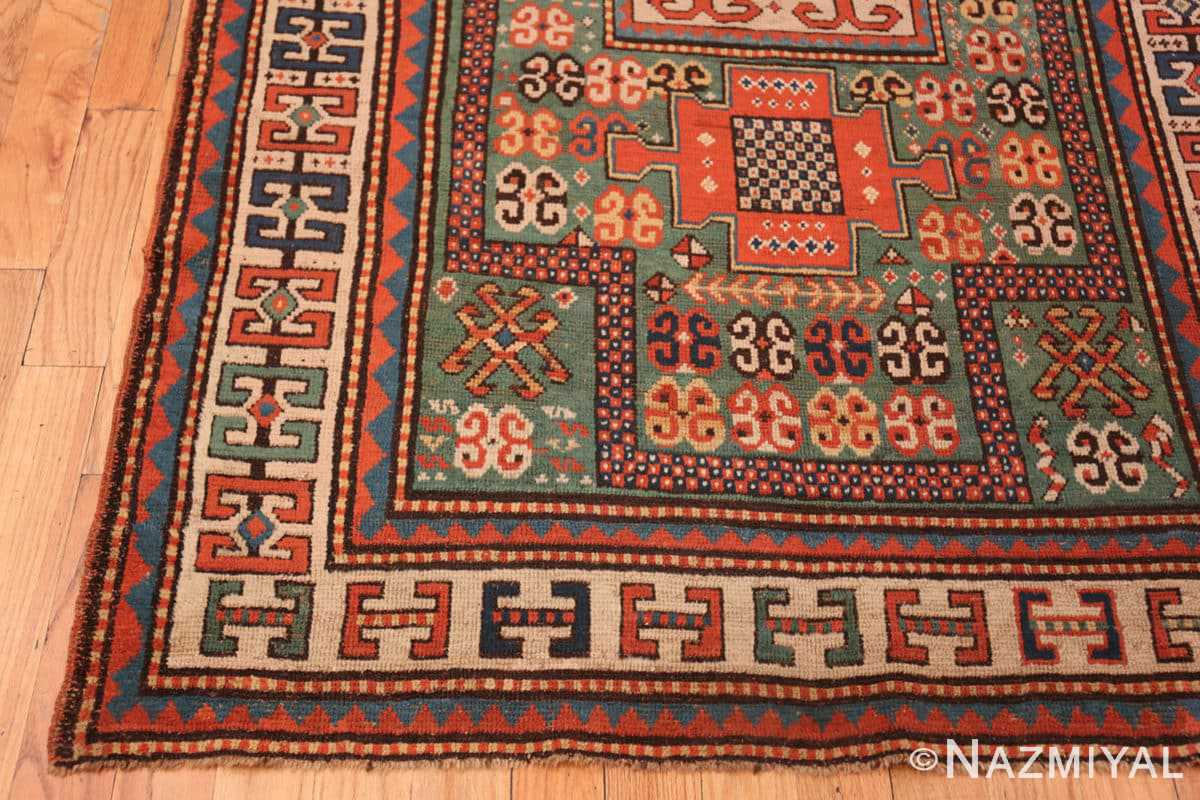 Corner Antique Kazak Caucasian rug 45191 by Nazmiyal