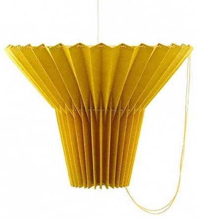 Yellow Pleated Pendant Lamp - nazmiyal