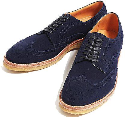 Hiroshi Tsubochi Navy Brogues Men's Shoes - Nazmiyal