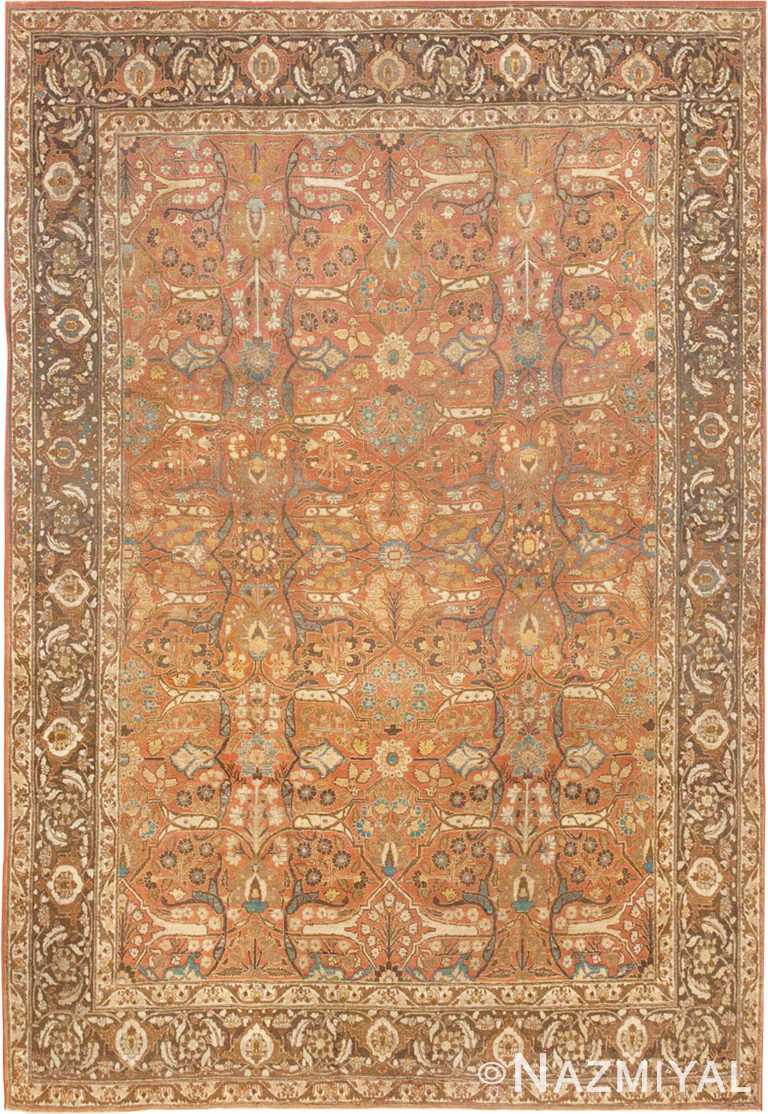 Fine Antique Rust Color Persian Tabriz Area Rug #45194 by Nazmiyal Antique Rugs