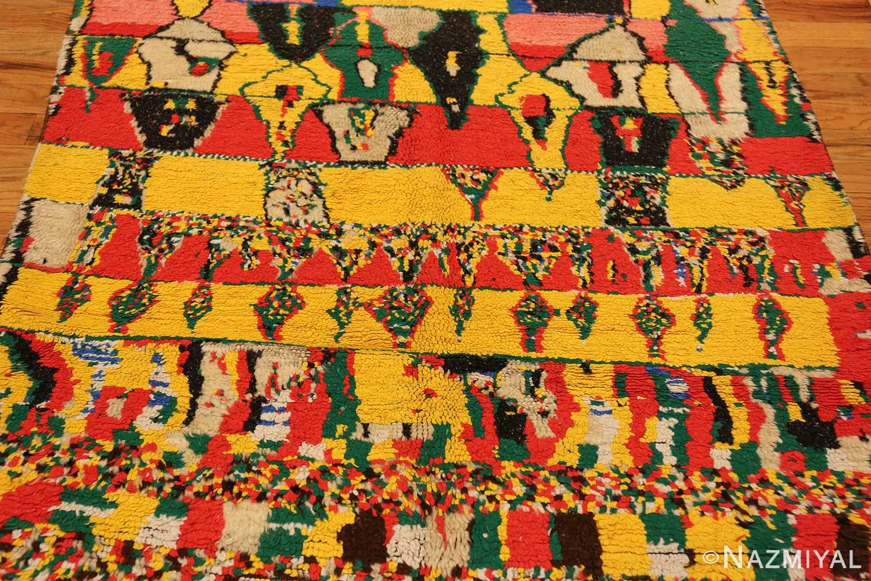 colorful vintage mid century moroccan rug 45333 closeup Nazmiyal