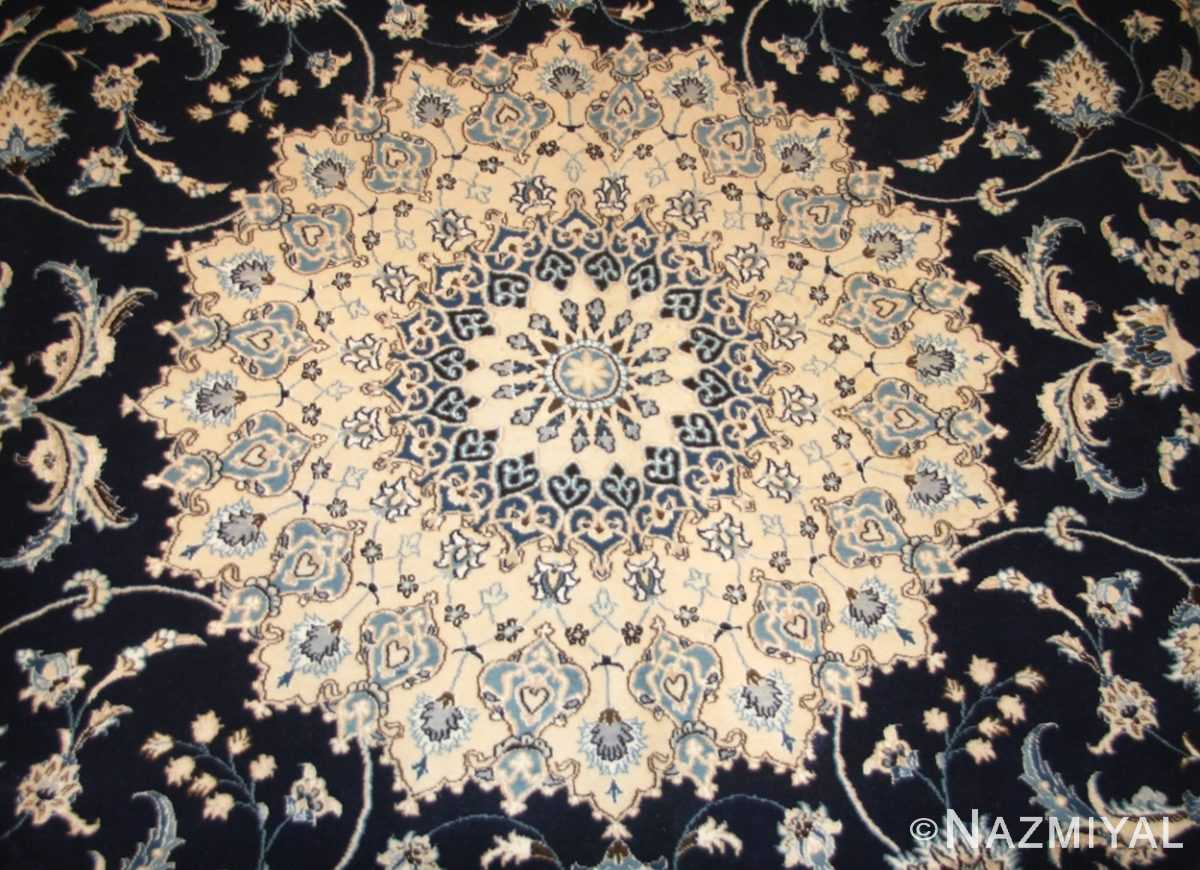 vintage persian silk and wool nain rug 45066 medallion Nazmiyal