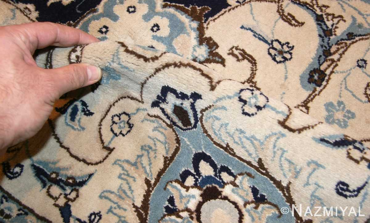 vintage persian silk and wool nain rug 45066 pile Nazmiyal