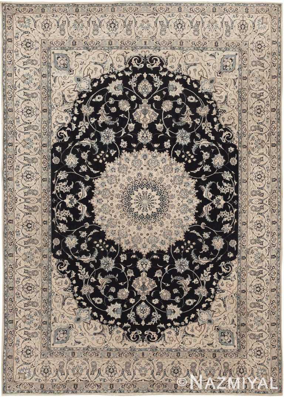 Vintage Persian Silk and Wool Nain Rug #45066 by Nazmiyal Antique Rugs