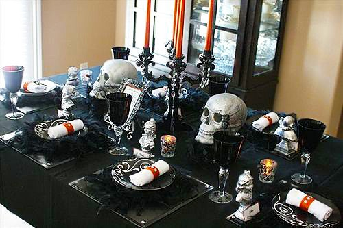 Halloween Table Settings With Skulls by Nazmiyal