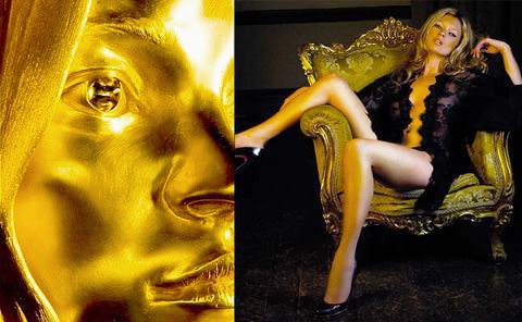 Kate Moss and Her Gold Statue