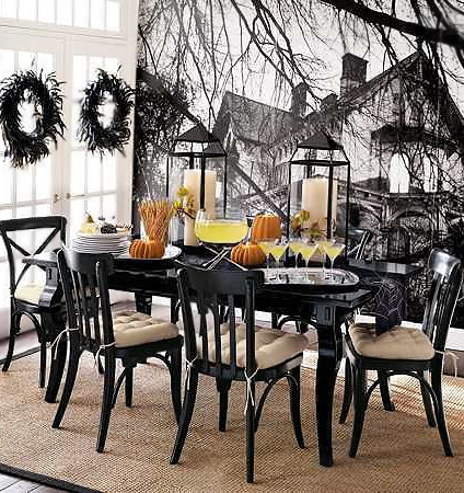Modern Home Interior With Halloween Table Setting by Nazmiyal