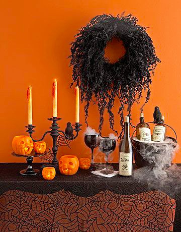 Orange and Black Modern Halloween Tables Setting by Nazmiyal